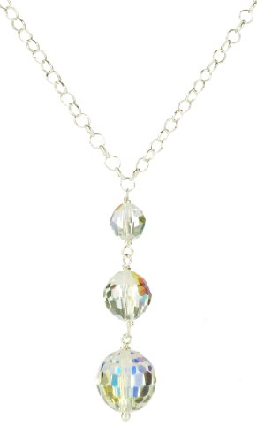 Sterling Silver Swarovski Elements Crystal Aurora Borealis Linear Drop Necklace, 18
