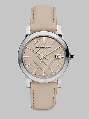 Burberry Orologio unisex finitura di lusso, cinturino in vera pelle colore: marrone chiaro, con data, BU9107