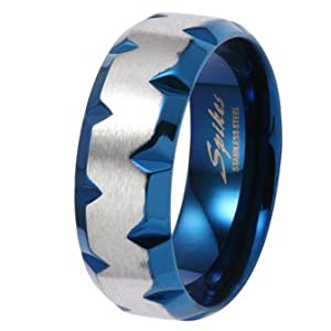 8MM High Polished Stainless Steel Ring with Blue Plated Faceted Edges For Men
