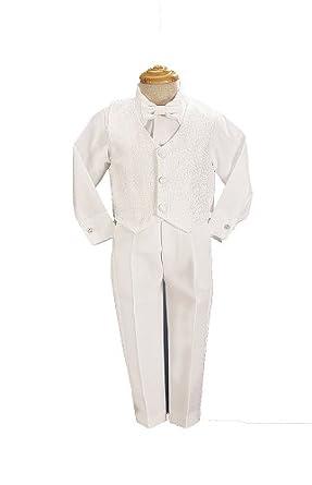 White Boys Embroidered Jacquard Christening Baptism or Wedding Vest Set - Size 2T
