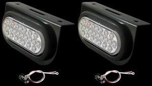 """Set of 2 Oval 6"""" Backup Lights LED 24 Diode 90 Degree Brackets"""