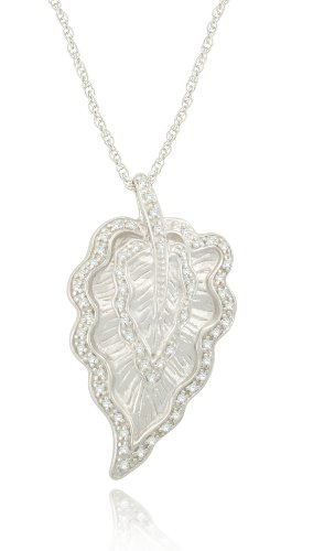 Sterling Silver Leaf Diamond Pendant Necklace (9/50 cttw, I-J Color, I2-I3 Clarity), 18