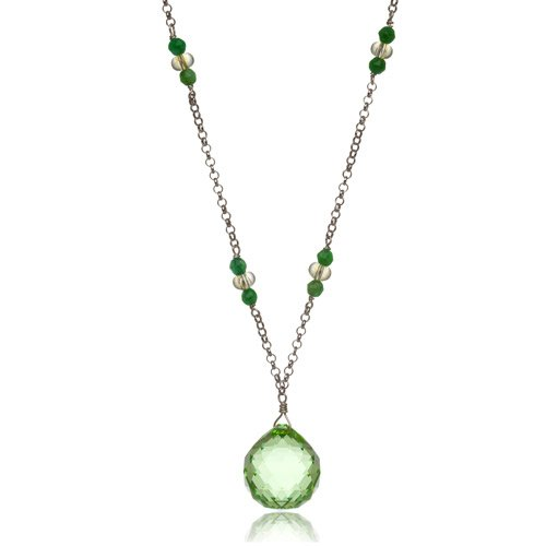Mishca Jewels, Ladies Jewellery, Swarovski Semi Precious Green Crystal and Jade Necklace on Sterling Silver 77cm/30.3