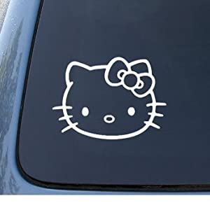HELLO KITTY - Cat Feline - Car, Truck, Notebook, Vinyl Decal Sticker #1093 | Vinyl Color: White