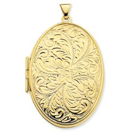 14k 50mm Oval Embossed Double Sided Locket - JewelryWeb