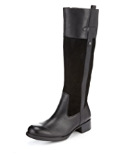 Footglove™ Leather Riding Long Boots with Stretch Zip