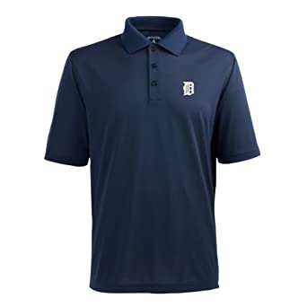 MLB Mens Detroit Tigers Pique Xtra Lite Desert Dry Polo by Antigua