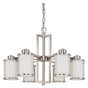 Nuvo 60/2853 6 Light Chandelier with Satin White Glass