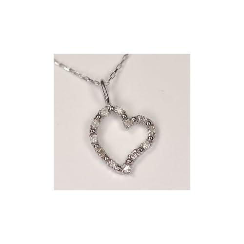 [キュートジュエリー]Cute jewerly ダイヤモンド ペンダント ネックレス K10WG ダイヤモンド0.06ct オープンハートペンダント