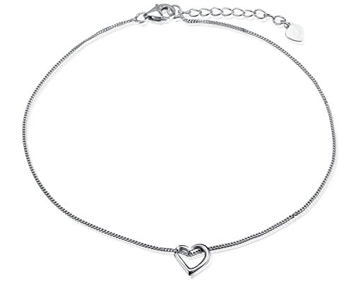 Women's Anklet  Open Heart Pendant 925 Sterling