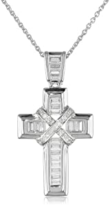 Sterling Silver and Baguette Created Blue Sapphire with Diamond Cross Pendant Necklace, 18