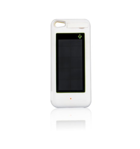 Greener Visions Iphone 5, 5S Solar Powered Charging Case. White Rhino Color