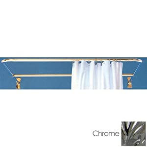 D-shaped Shower Rod Set w/ Ceiling Brace - Polished Chrome
