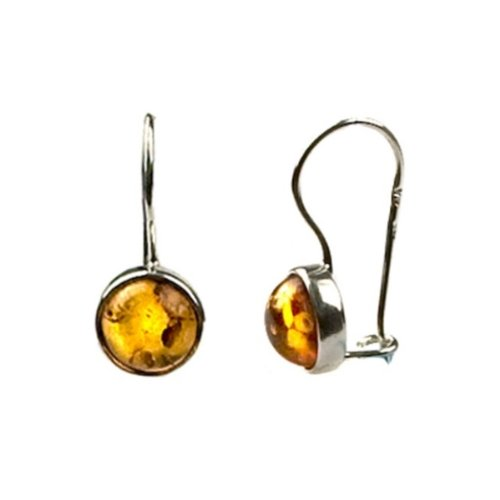 Baltic Honey Amber Sterling Silver Round Hook Earrings