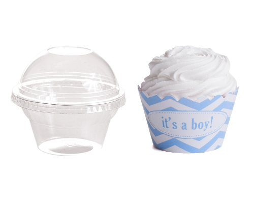 Dress My Cupcake Personalized Favor Dome Containers With Wrappers Diy Kit, Chevron, It'S A Boy, Set Of 25
