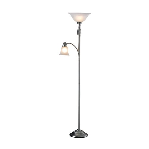Normande Lighting JM1-778D Mother Daughter 71-Inch Torchiere Floor Lamp with 40-Watt Adjustable Reading Lamp