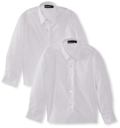 Blue Max Banner Girl's Twin Pack Long Sleeve School Blouse, White, 34