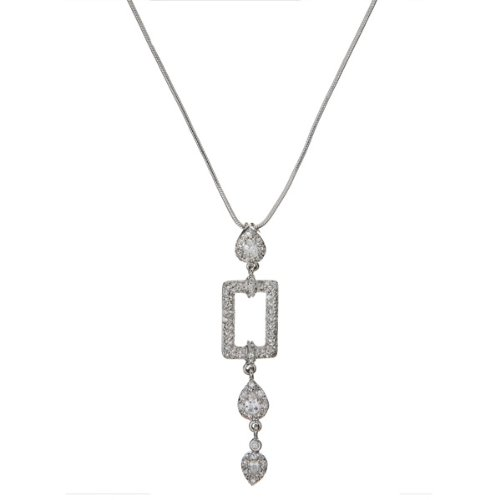 Designer Style Geometric C.Z. Diamond Cable Drop Necklace (Nice Holiday Gift, Special Black Firday Sale)