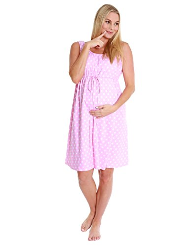 3 in 1 Labor / Delivery / Nursing Gown by Baby Be Mine Maternity (L/XL, Pink Polka Dot)