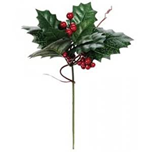 Holly Berry Twig Pick - Green Leaves with Red Berries - 8 inches