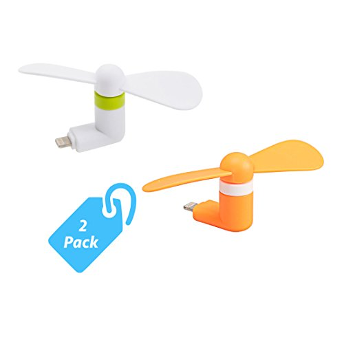 StyleTech Inc. Portable Cool Mini Rotating Fan for Apple Lighting Port Compatible with iPhone/iPods/iPad (2.) White + Orange) (Cyclone Inline Fan compare prices)