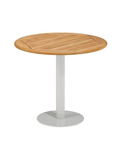 Oxford Garden Travira Round Bistro Table, Powder Coated Aluminum/Teak