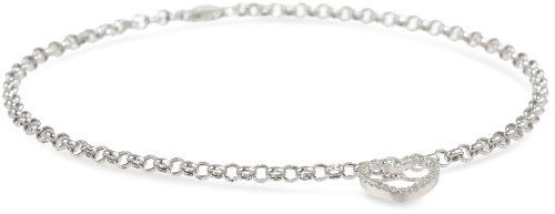 14k White Gold Open Heart on Rolo Chain Anklet,