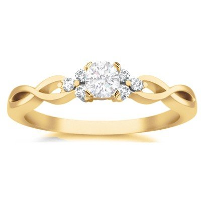 0.58 Carat Diamond Engagement Ring with Round cut Diamond on 18K Yellow gold
