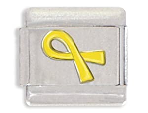 Clearly Charming Yellow Ribbon Italian Charm