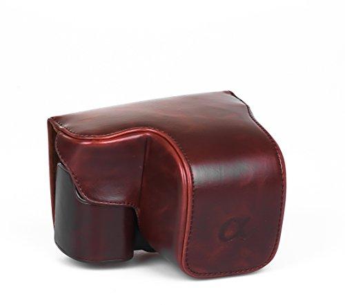 Hlle-Tasche-Etui-Leder-fr-Sony-NEX-6-NEX-6-A6000-dunkelbraun-braun