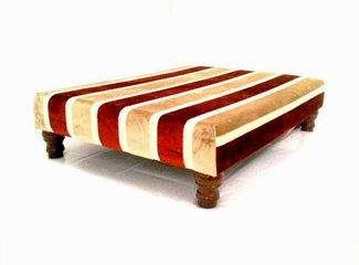 Grande tavolino imbottito in Henna oro Stripe Stripe Velvet