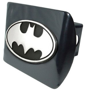 Batman Black & Chrome Trailer Hitch Cover with Oval Batman Seal by AMG