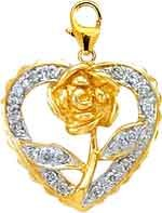 Rose In Heart with 14K White/Yellow Gold Diamond Charm
