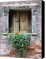 Rustic Wooden Window Shutters Canvas Print / Canvas Art - Artist Donna Corless