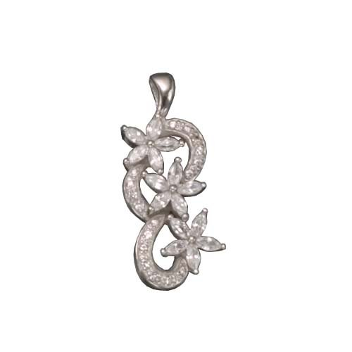 C.Z. AND MARQUIS FLOWER RHODIUM PLATED (.925) STERLING SILVER PENDENT (Nice Holiday Gift, Special Black Firday Sale)
