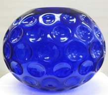 31D2k%2BdB9nL Hand Blown Colblact Blue Round Bubbled Glass Vase   10