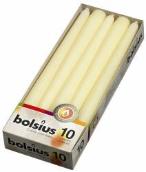 10 Bolsius Ivory Non Drip Dinner Taper Candles 25cm 75hrs by White Candle Company