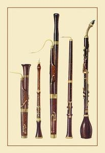 Framed Black poster printed on 20 x 30 stock. Dolciano, Oboe da Caccia, Oboe, Basset Horn and Bassoon