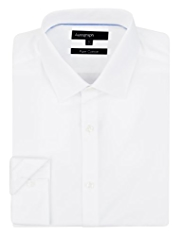 2in Shorter Autograph Pure Cotton Plain Poplin Shirt