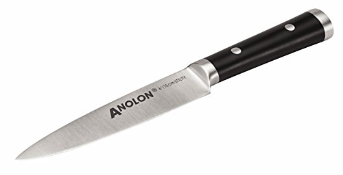Anolon Japanese Stainless Steel Utility Knife with Sheath, 6-Inch, Black