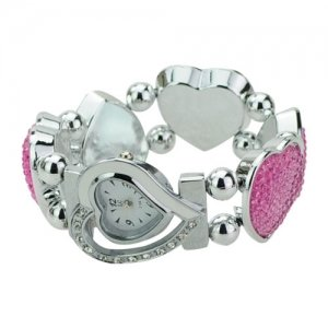 Elegant Graceful Rhinestone Stainless Steel Quartz Movement Bracelet Wrist Watch - Pink