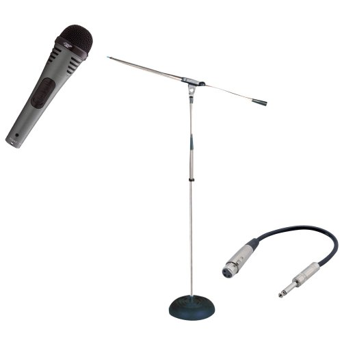 Pyle Mic And Stand Package - Pdmik2 Professional Moving Coil Dynamic Handheld Microphone - Pmks9 Heavy Duty Compact Base Boom Microphone Stand - Ppfmxlr01 12 Gauge 6 Inch 1/4'' To Xlr Female Cable