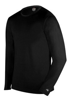 Duofold Men's Mid Weight Single-Layer Thermal Tagless Crew, Black, Small