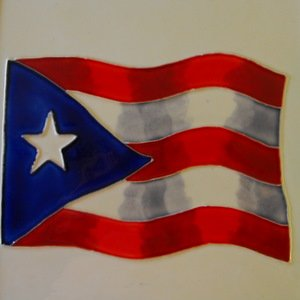Puerto Rico Rican Flag Ceramic Wall Art Tile 4x4 Coaster