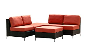 angelo:HOME Napa 4-Piece Outdoor Furniture Set, Red (Discontinued by Manufacturer)