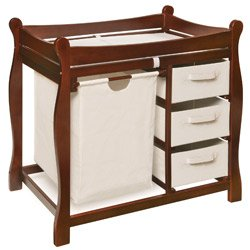 Sleigh Style Changing Table With Storage - Color: Cherry
