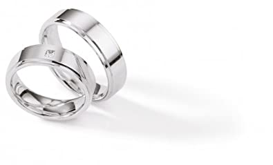 925 Sterling Silver Rings Wedding Ruesch/with Brilliant Rhodium-Plated 55 000/S118h + 55/S118B