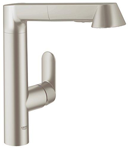 GROHE K7 Küchenarmatur, hoher Auslauf, herausziehbare Komfort-Spülbrause, SuperSteel 32176DC0