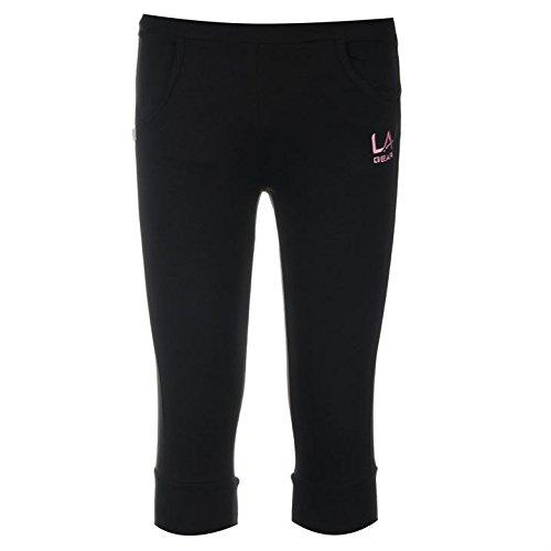 la-gear-kids-junior-girls-three-quarter-jogging-pants-trousers-bottoms-clothing-black-11-12-lg