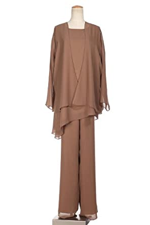 Wabl New 2014 Classic Chiffon Mother of the Bride Pant Suits (20w, Brown) Free Necklace